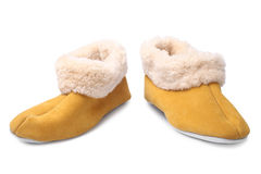 Handcrafted leather slippers with wool lining Stock Images