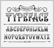 Handcrafted letters with Victorian decor. Vector label font Stock Photos