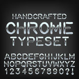 Handcrafted metal typeset vector chrome custom font. 36 different  cartoon cloud icons on blue gradient background. Vector cloudscape Stock Image