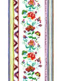 Handcrafted motifs - repeating floral stripe with embroidery Eastern european flowers, strips. Watercolor. Handcrafted motifs - repeating floral stripe with Royalty Free Stock Photography