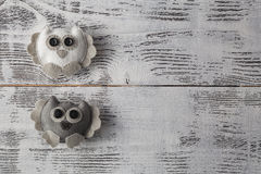 Handcrafted Owl on table Royalty Free Stock Images