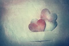 Handcrafted paper hearts in vintage tone Stock Photography