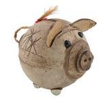 Handcrafted piggy bank Stock Photos