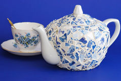 Handcrafted Porcelain Teapot Stock Photo