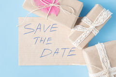 Handcrafted present and invitation Stock Images