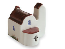 Handcrafted souvenir of church. Made in ceramic Stock Photo
