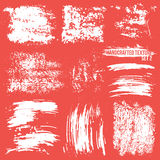 Handcrafted texture set. Expressive handcrafted texture set smears and fingerprints. White to red background Stock Photos