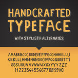 Handcrafted typeface, letters and numbers. Vector illustration stock illustration