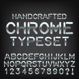 Handcrafted typeset металлом шрифт хрома вектора изготовленный на заказ Стоковое Изображение