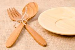 Handcrafted wooden kitchen utensils Stock Photo