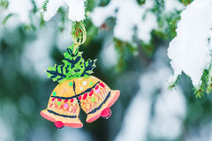 Handcrafted wooden ornament of Christmas Bells Royalty Free Stock Photography