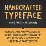Handcraftedlettersoort, letters en getallen stock illustratie