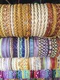Handcrafts colorful bracelets display Royalty Free Stock Image