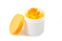 Handcream with marigold Royalty Free Stock Photo