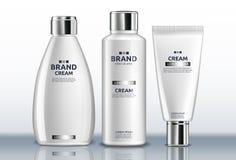 Handcreme-Flaschen Vektor realistisch Produktplatzierungsspott oben Ausführliche Designe des Aufklebers 3d stock abbildung