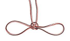 Handcuff knoop die op synthetische verwijderde kabel wordt gebonden stock afbeelding