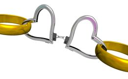 Handcuff of love. 3d handcuffs. On white background Stock Image