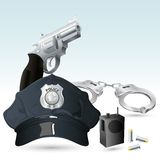Handcuff with Police Hat and Gun. Illustration of police cap with handcuff and gun Royalty Free Stock Photo