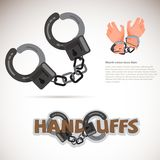 Handcuff. typographic design, Captured hand chained in iron hand. Cuff -  illustration Royalty Free Stock Photography