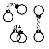 Handcuff zwarte kunst vectorillustratie Stock Foto's