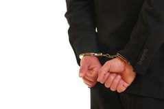 Handcuffed business man Stock Images