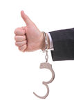 Handcuffed businessman. Giving the go-ahead Stock Photography