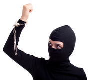 Handcuffed female thief Stock Photos