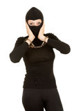 Handcuffed female thief Royalty Free Stock Photo