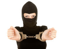 Handcuffed female thief Stock Images