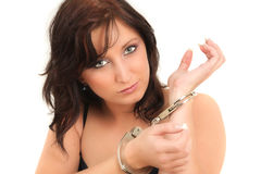 Handcuffed girl Stock Images