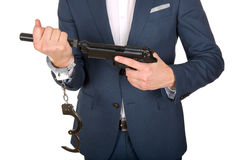 Handcuffed hand royalty free stock photography