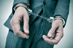 Handcuffed man Stock Photo
