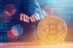 Handcuffed nahm Bitcoin-Dieb fest Stockfotos