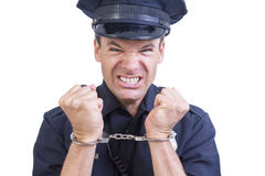 Handcuffed police officer Stock Images