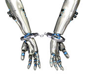 Handcuffed Robot - Cyber Crime Stock Images