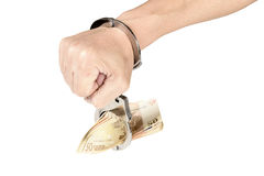 Handcuffed to money Stock Images