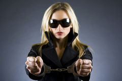 Handcuffed woman Royalty Free Stock Photography