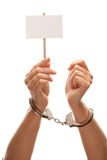 Handcuffed Woman Holding Blank Sign Isolated Stock Photo