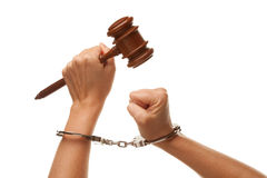 Handcuffed Woman Holding Wooden Gavel on White Royalty Free Stock Image