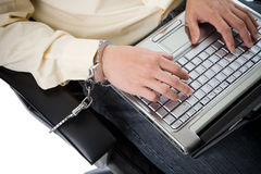 Handcuffed working businessman Royalty Free Stock Photo