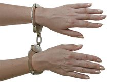 Handcuffs. Locked royalty free stock image