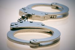 Handcuffs. Chrome handcuffs used in law enforcement
