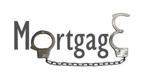 Handcuffs. Mortgage word made with handcuffs Royalty Free Stock Photos