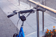 Handcuffs as bicycle theft protection Royalty Free Stock Photo
