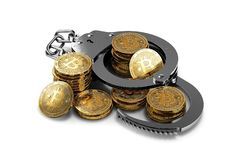 Handcuffs and bitcoin stack and piles isolated on white background. Bitcoin prohibition concept. 3D rendering Royalty Free Stock Photography
