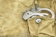 Handcuffs in The Camouflage Army Pants Pocket or Haversack. Or Bag or Fabric. Backgrond  and Texture Royalty Free Stock Photo