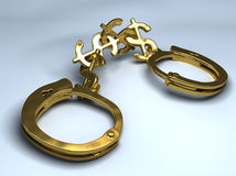Handcuffs with chain made of dollar signs. Conceptual illustration. Handcuffs with chain made of dollar signs. Conceptual 3d illustration Royalty Free Stock Photos