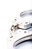 Handcuffs close-up hoog sleutel stock afbeelding