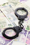 Handcuffs on czech money Royalty Free Stock Images