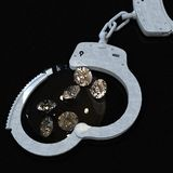 Handcuffs and diamonds symbolizing vice in love affairs 3d rendering Royalty Free Stock Images